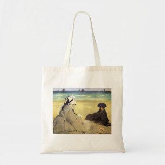 Sur la plage 1873 by Edouard Manet Canvas Bags