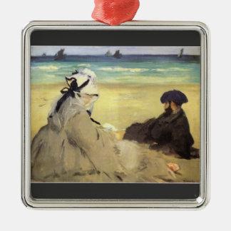 Sur la plage 1873 by Edouard Manet Christmas Tree Ornament