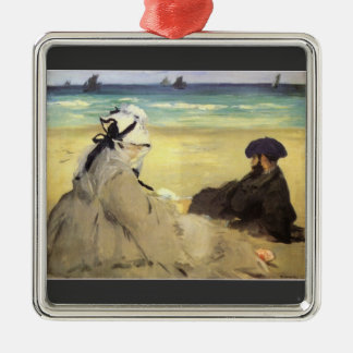 Sur la plage 1873 by Edouard Manet Christmas Ornament