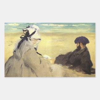 Sur la plage 1873 by Edouard Manet Rectangular Stickers