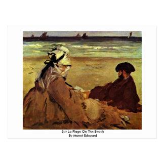 Sur La Plage On The Beach By Manet Edouard Postcard