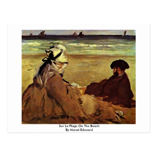 Sur La Plage On The Beach By Manet Edouard Post Cards