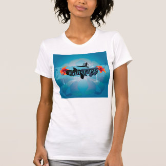 Surf boarder with water splash t shirts