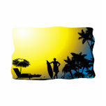 Surf on Beach Sunset Cut Out