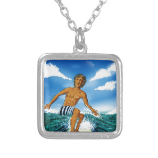 Surf Rider Square Pendant Necklace