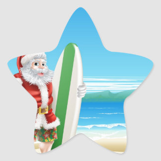 Surf Santa on the beach Stickers