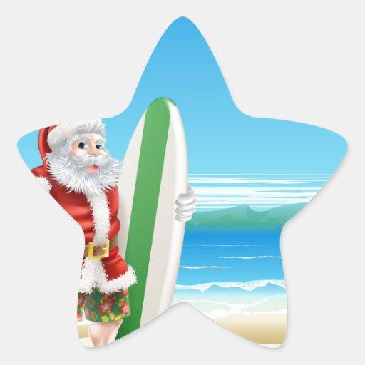 Surf Santa on the beach Stickers