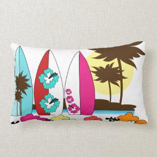Surf Shop Surfing Ocean Beach Surfboards Palm Tree Lumbar Pillow