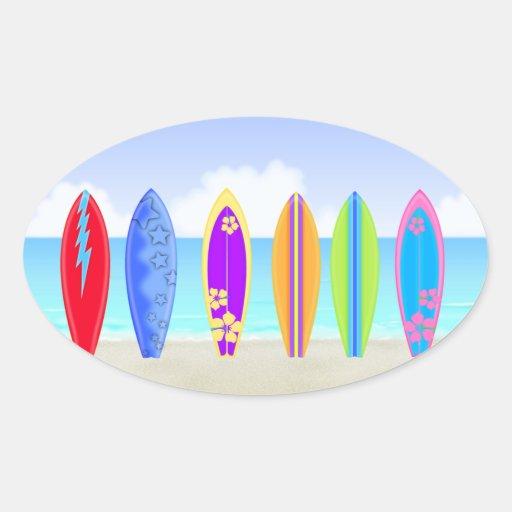 Surfboards Beach Oval Sticker