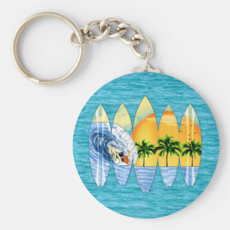 Surfer And Surfboards Basic Round Button Key Ring