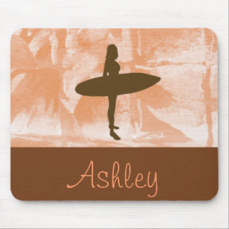Surfer Girl Personalized Orange, Brown, and White Mouse Pad