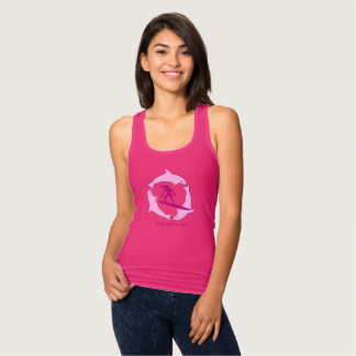 Surfer Girls Pink Racerback Tank Top