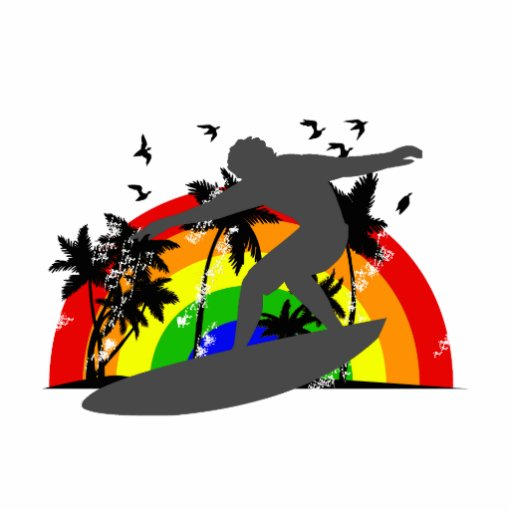 Surfer with Rainbow Standing Photo Sculpture
