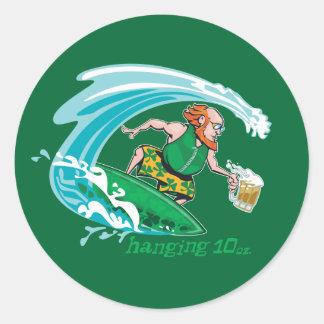 Surfing Irish Leprechaun Classic Round Sticker