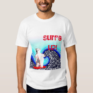Surf's up polar bear surfing t-shirt