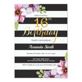 Surprise 16th Birthday Invitation Teen Floral