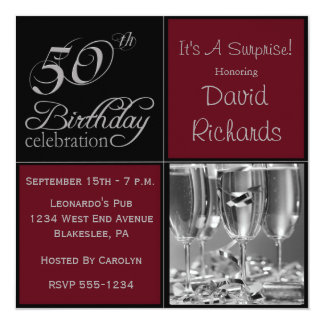 Surprise 50th Birthday Party Burgandy & Silver Card