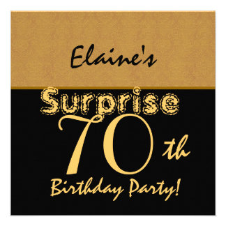 SURPRISE 70th Birthday Gold and Black V005 Announcements