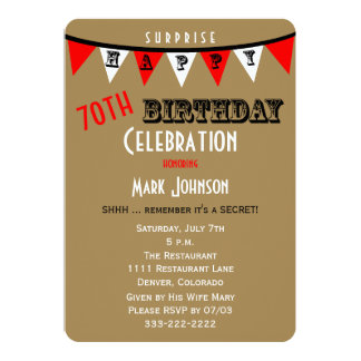 Surprise 70th Birthday Party Invitations Bunting