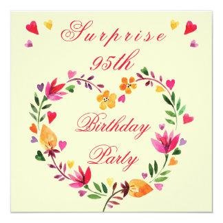 "Surprise 95th Birthday Watercolor Floral Heart 5.25"" Square Invitation Card"
