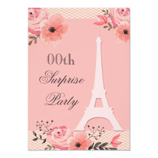 Surprise Birthday Chic Floral Paris Eiffel Tower 13 Cm X 18 Cm Invitation Card