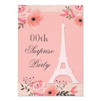 Surprise Birthday Chic Floral Paris Eiffel Tower 13 Cm X 18 Cm Invitation Card