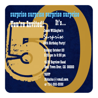 SURPRISE Grunge 50th Birthday Blue and Tan W202G Card