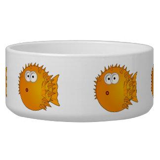 Surprised Orange Puffer fish Pet Water Bowl