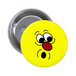 Surprised Smiley Face Grumpey 6 Cm Round Badge