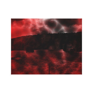 Surreal Dreamscape red and black dark psychedelic Canvas Print
