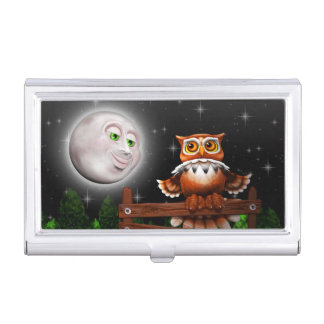 Surreal Owl and Moon Business Card Holders