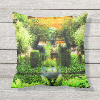 Surreal Renaissance Garden Outdoor Pillow