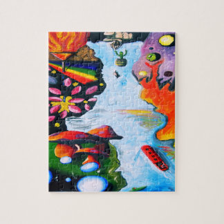 Surrealistic Dali Style Mushroom Wonderland Jigsaw Puzzle