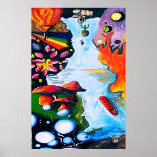 Surrealistic Dali Style Mushroom Wonderland Poster