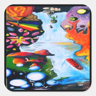 Surrealistic Dali Style Mushroom Wonderland Square Sticker