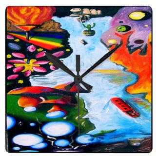 Surrealistic Dali Style Mushroom Wonderland Square Wall Clock