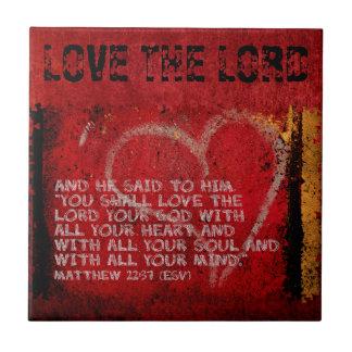 Surrendering All Matthew 22:37 Scripture Photo Art Small Square Tile
