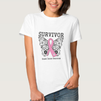 SURVIVOR - Breast Cancer Butterfly Tee Shirts
