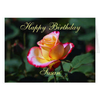 Susan Happy Birthday Red, Yellow and White Rose Card