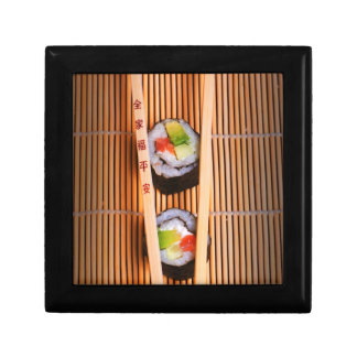 Sushi and wooden chopsticks small square gift box