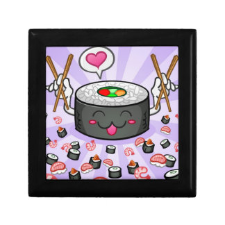 Sushi Cartoon Character Eating Lots of Shrimp Small Square Gift Box