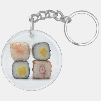 Sushi! Double-Sided Round Acrylic Key Ring