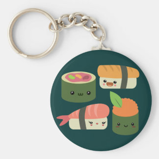 Sushi Friends Basic Round Button Key Ring