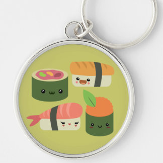 Sushi Friends Silver-Colored Round Key Ring