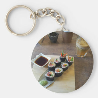 Sushi Japanese Food Delicious Restaurant Lunch Basic Round Button Key Ring