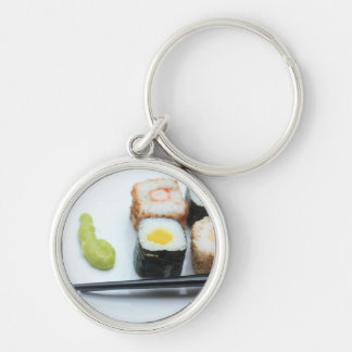 Sushi! Silver-Colored Round Key Ring