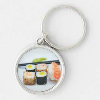 Sushi! Silver-Colored Round Keychain