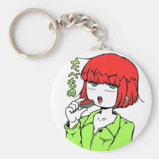 sushi manga pop girl basic round button key ring