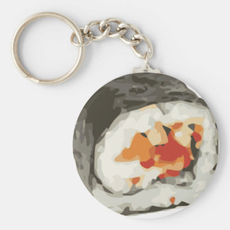 Sushi Roll Japanese Food Lover Basic Round Button Key Ring