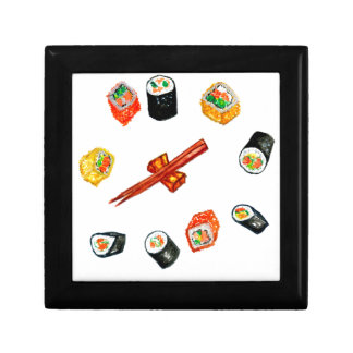 Sushi Set Watercolor2 Small Square Gift Box